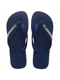 HAVAIANAS BRASIL LOGO Navy Blue Flip Flops
