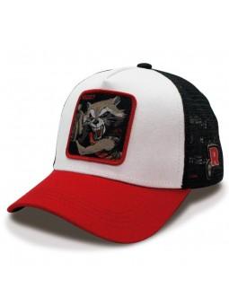 Gorra de rejilla ROCKET RACCOON Marvel de color blanco/rojo/negro
