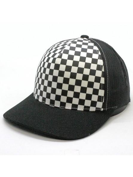 334262927 FLEXFIT 6506CB Checkerboard Retro trucker Black Cap