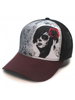 MEXICAN SKULL GIRL TOP HATS Rapper Cap