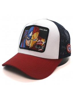 IRONMAN vs CAPTAIN AMERICA Civil War white/red trucker Cap