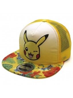Gorra de rejilla snapback de PIKACHU de Pokemon amarillo