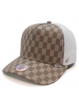 Gorra de rejilla DJINNS HFT Louicheck marron/blanco (ajedrez)