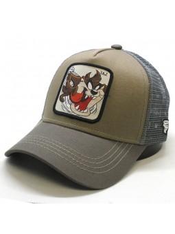 Gorra de rejilla TAZ Looney Tunes kaki/gris