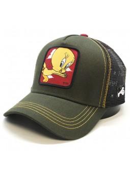 """Gorra de rejilla PIOLIN """"TWETTY"""" Looney Tunes oliva/negro"""