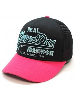 Premium Goods Outline SUPERDRY trucker black/pink Cap