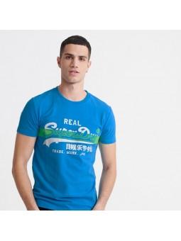 Camiseta SUPERDRY Vintage Logo Cross Hatch azul