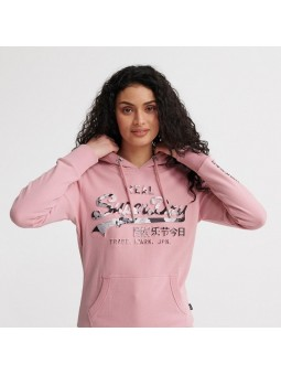 Vintge Logo Photo Rose Entry SUPERDRY pink women Hoodie