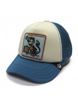 """Goorin Bros """"MONKEY BUSINESS"""" white/blue kids trucker cap"""