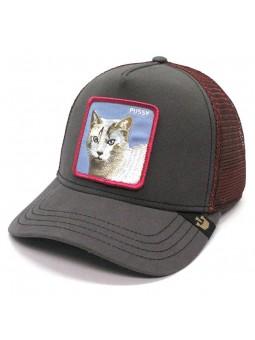 "Goorin Bros ""WHISKER"" cat animal patch gray red trucker cap"