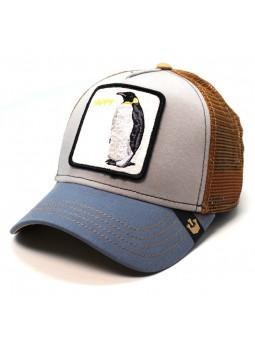 Goorin Bros Happy Waddler Penguin trucker gray blue brown cap