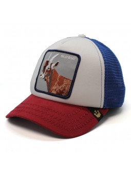 Goorin Bros HICKORY STICK Goat trucker white red royal blue cap