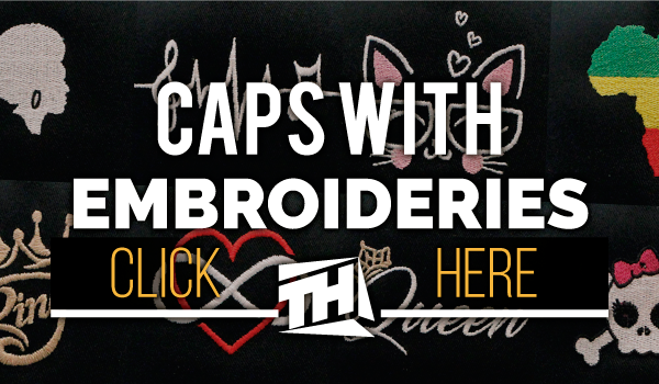 caps with original embroideries